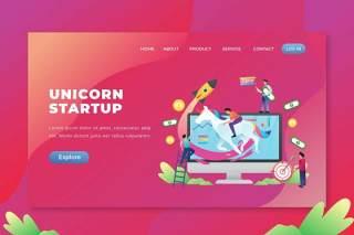 独角兽启动psd和ai矢量登陆页面UI界面插画设计unicorn startup psd and ai vector landing page