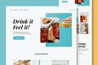 饮料食品网站UI界面设计PSD模板drinks food website