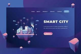 智慧城市psd和ai矢量登陆页面UI界面插画设计smart city psd and ai vector landing page