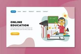在线教育xd psd ai矢量登录页UI界面插画设计online education xd psd ai vector landing page