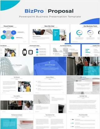 简约商务工作汇报计划总结报告PPT模板BizPro Powerpoint Proposal Template Presentation