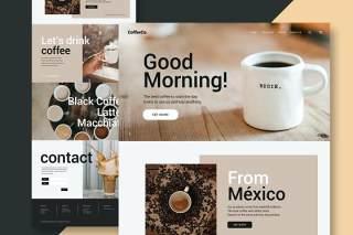 咖啡店网站UI界面设计PSD模板coffee shop website