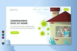 冠状病毒停留在主页登录页UI界面PSD设计模板coronavirus stay at home landing page