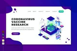 冠状病毒疫苗研究等距网页UI界面PSD设计模板coronavirus vaccine research isometric web page