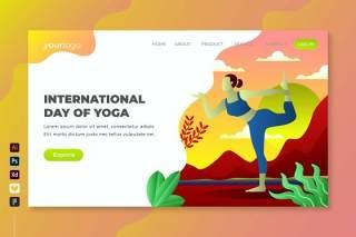 国际瑜伽日矢量登陆页面UI界面插画设计international day of yoga vector landing page