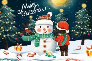 手绘插画圣诞节圣诞老人圣诞树雪人主题活动PSD设计素材11