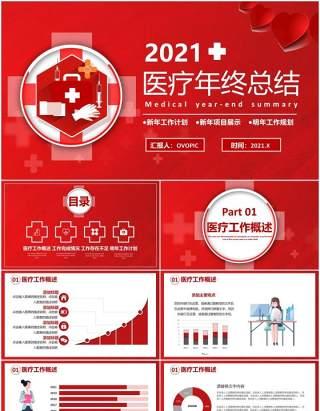 红色商务医疗行业年终工作总结计划报告通用PPT模板