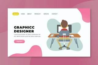 图形设计器xd psd ai矢量登录页UI界面插画设计graphic designer xd psd ai vector landing page