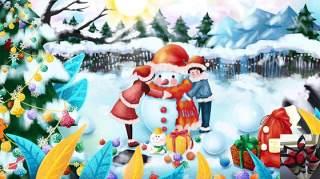 手绘插画圣诞节圣诞老人圣诞树雪人主题活动PSD设计素材15