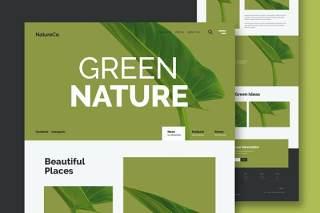 绿色自然网站UI界面设计PSD模板green nature website