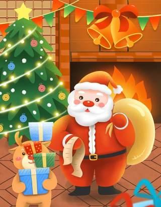 手绘插画圣诞节圣诞老人圣诞树雪人主题活动PSD设计素材28