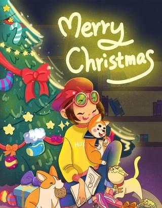 手绘插画圣诞节圣诞老人圣诞树雪人主题活动PSD设计素材27