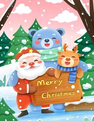 手绘插画圣诞节圣诞老人圣诞树雪人主题活动PSD设计素材22