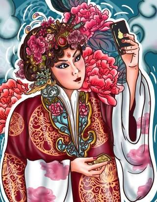 中国风卡通国潮京剧戏曲国粹花旦人物形象PSD插画海报设计素材23