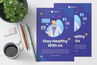 使用我们的创意保持健康传单模板AI插画设计stay healthy with us creative flyer template