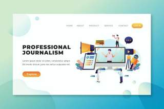 专业新闻psd和ai矢量登陆页UI界面插画设计professional journalism psd and ai vector landing page