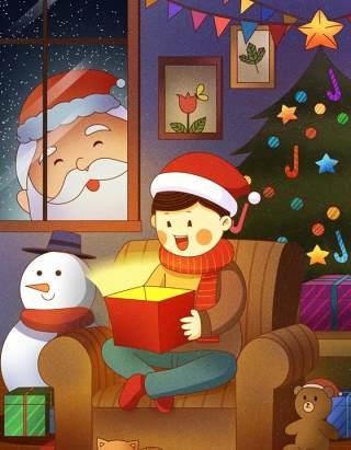 手绘插画圣诞节圣诞老人圣诞树雪人主题活动PSD设计素材34