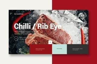 牛肉餐厅美食UI界面登录页AI矢量设计模板meat restaurant landing page