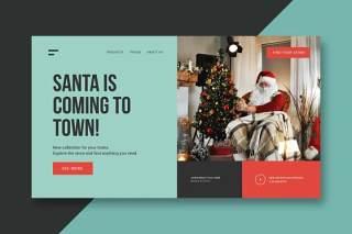 圣诞节礼物UI界面登录页AI矢量设计模板gifts christmas landing page