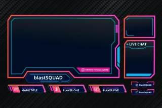 爆破队抽搐叠加UI界面PSD设计模板blast squad twitch overlay template