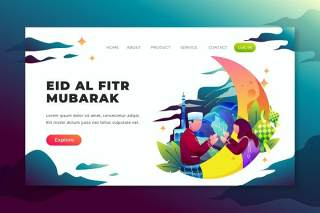 psd和ai矢量登录页UI界面插画设计eid al fitr mubarak psd and ai vector landing page