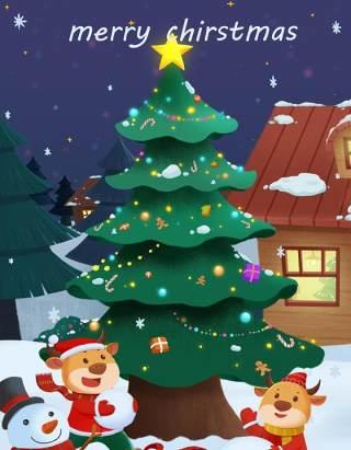 手绘插画圣诞节圣诞老人圣诞树雪人主题活动PSD设计素材36