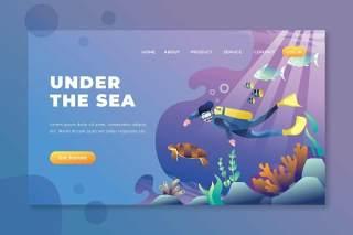 海底psd和ai矢量登陆页面UI界面插画设计under the sea psd and ai vector landing page