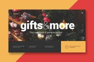 圣诞商店登录页UI界面设计AI矢量模板christmas store landing page