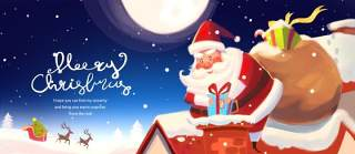 手绘插画圣诞节圣诞老人圣诞树雪人主题活动PSD设计素材10