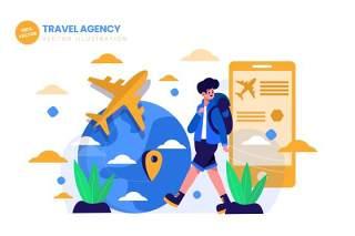 旅行社平面矢量图AI人物插画设计素材Travel Agency For Traveling Flat Illustration