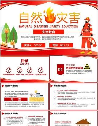 简约卡通风自然灾害安全教育学会自救校园培训课件通用PPT模板