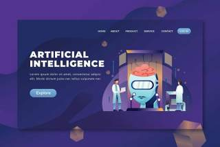 人工智能psd和ai登录页UI界面插画设计artificial intelligence psd and ai landing page
