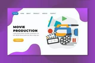 电影制作psd xd ai矢量登录页UI界面插画设计movie production psd xd ai vector landing page