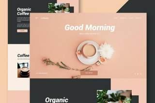 咖啡店网站UI界面设计PSD素材模板coffee shop website