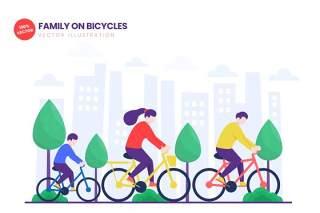 自行车家庭骑行平面矢量图AI人物插画设计素材Family On Bicycles Flat Vector Illustration