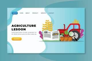农业课登录页UI界面AI插画矢量设计模板agriculture lesson xd psd ai vector landing page