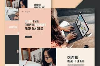 自由设计师网站UI界面设计PSD模板freelance designer website