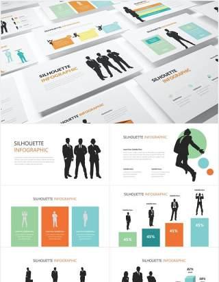 商业人物剪影人群分析PPT信息图形素材Silhouette Infographic Powerpoint Template