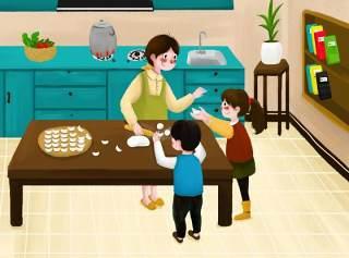中国传统文化二十四节气冬至插画海报背景配图PSD横版素材1