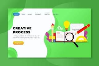 创意流程xd psd ai登录页UI界面矢量插画设计creative process xd psd ai landing page