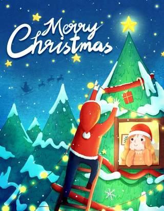 手绘插画圣诞节圣诞老人圣诞树雪人主题活动PSD设计素材19