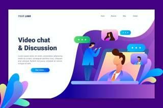 视频聊天登录页UI界面AI插画设计模板Video Chat Landing Page