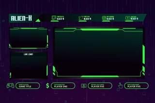 游戏覆盖UI界面PSD设计模板alienx twitch overlay template
