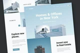 房地产商业网站UI界面PSD设计模板real estate business website