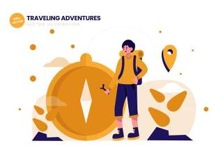 旅行冒险平面矢量插图AI人物插画设计素材Traveling Adventures Flat Vector Illustration