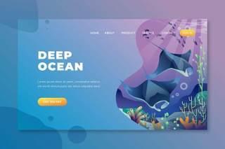 深海psd和ai矢量登陆页面UI界面插画设计deep ocean psd and ai vector landing page