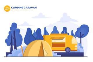 露营车平面矢量图AI插画素材设计Camping Caravan Flat Vector Illustration