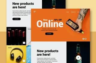 在线商店网站UI界面PSD设计模板store online website