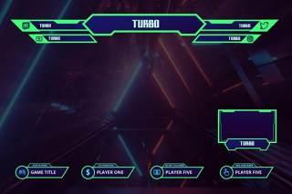 涡轮抽搐覆盖UI界面PSD设计模板turbo twitch overlay template