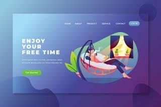 享受您的自由时间psd和ai矢量登陆页UI界面插画设计enjoy your free time psd and ai landing page